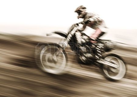 Championship of motocross, side view of sportsmen driving motorcycle, slow motion, speed highway, extreme lifestyle