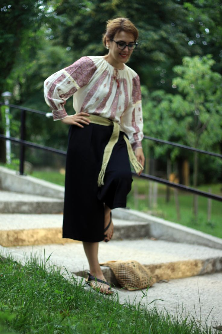 Traditional Romanian Blouse with culottes in the parc