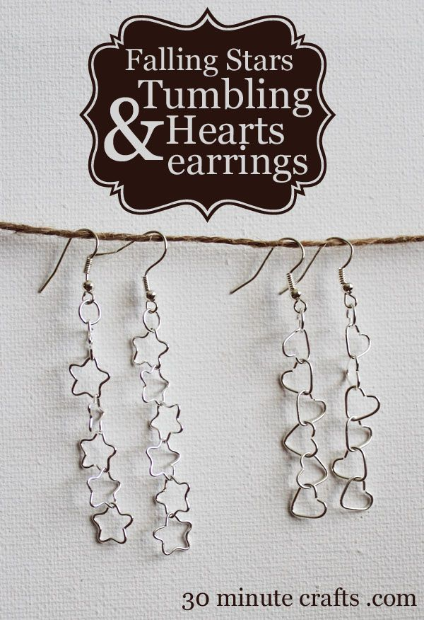 Falling Stars and Tumbling Hearts earrings - so quick and easy you won't believe it!