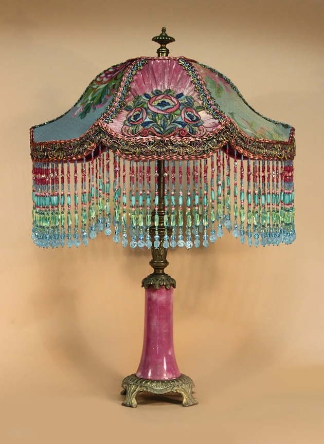 One of a kind hand beaded victorian lamp shades and fully restored antique table lamp vader shaped shade is dyed hot pink and covered with metallic lace