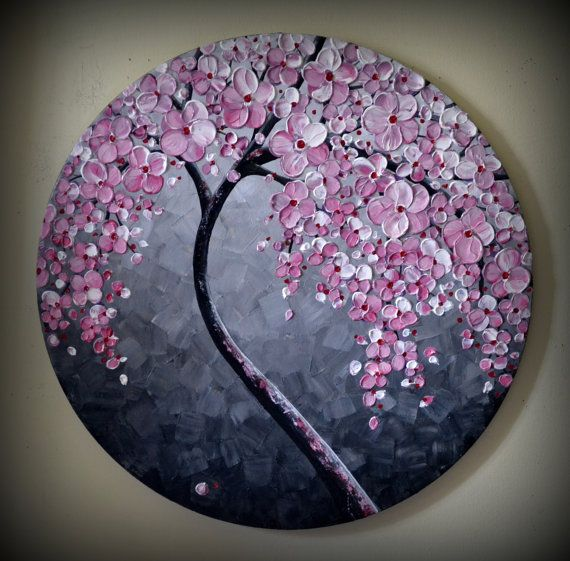 ORIGINAL Fine Art Modern Tree Painting Black and by ZarasShop, $155.00