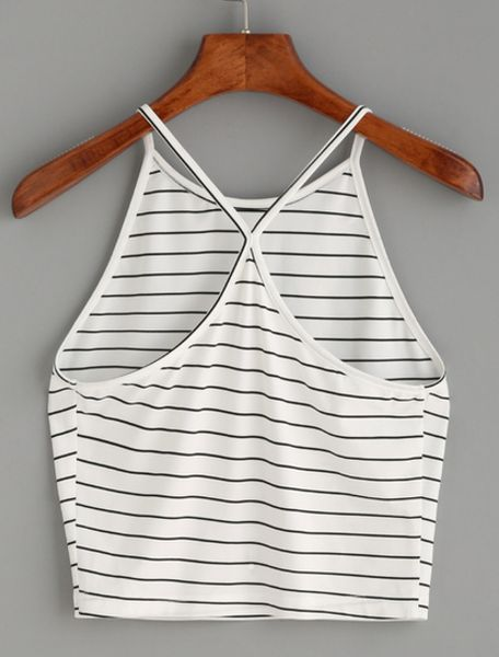 Bella Striped Halter Top White with black stripes Halter cami Cross-back Fabric is fairly stretchy One size fits most Please allow 2-3 weeks for delivery due to