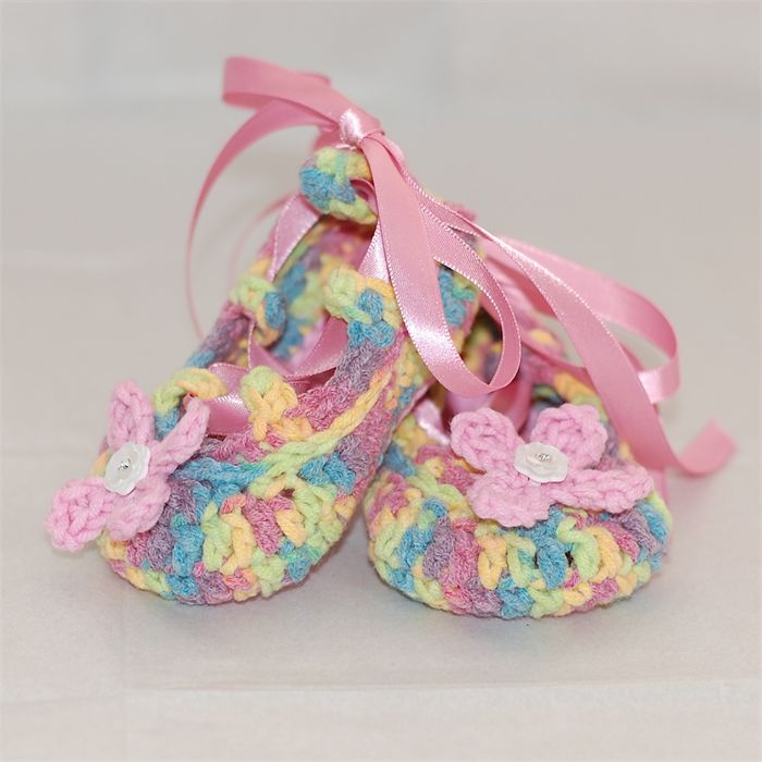 Baby Shoes, 0 to 6 months, Crochet, Ballet Shoes, Booties, Colourful shoes. | Off My Hook | madeit.com.au
