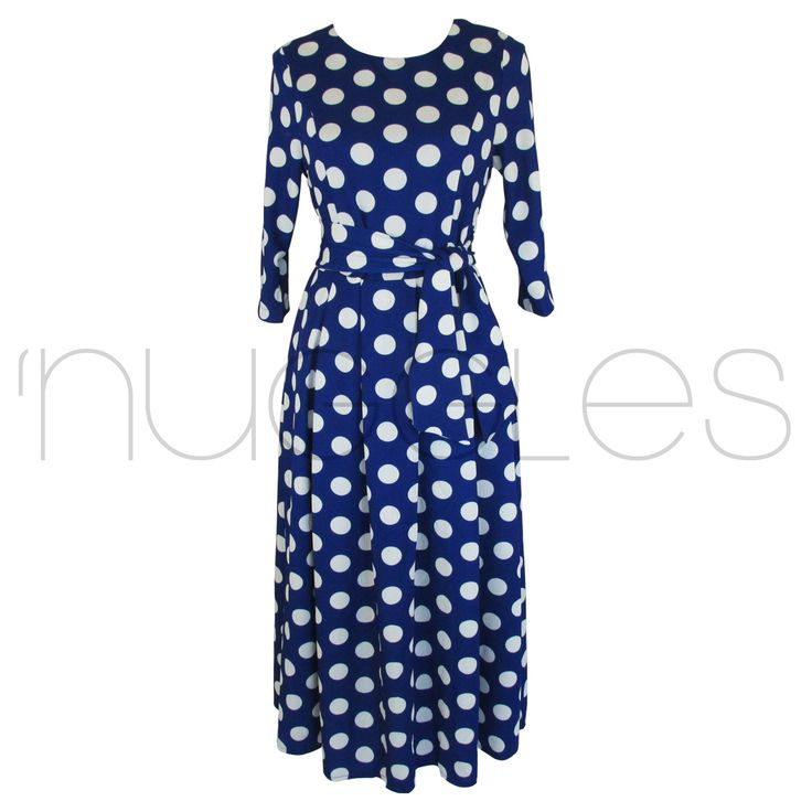 BLUpolkadress_front Nuggles Boutique 50.00
