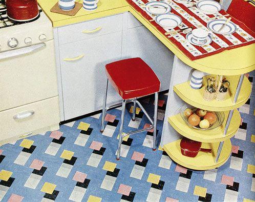 flooring and shelves, vintage 1950s kitchen