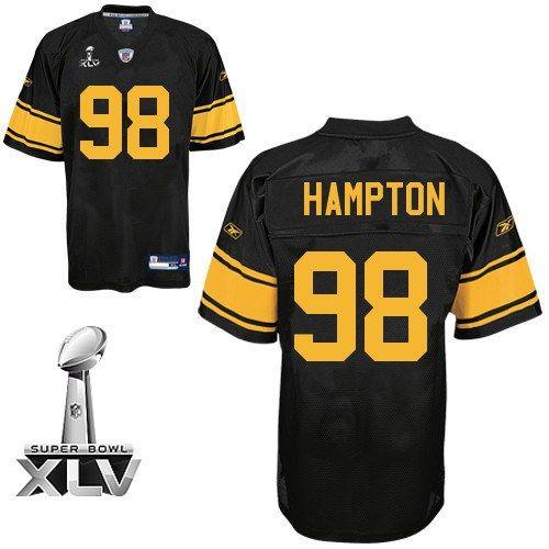 Reebok Pittsburgh Steelers Casey Hampton Authentic 98 Black Jerseys Sale