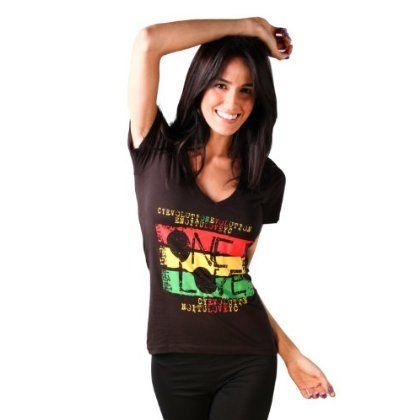 Cooyah One Love Reggae Rasta Ladies T Shirt Large Black -- Want to know more, click on the image.