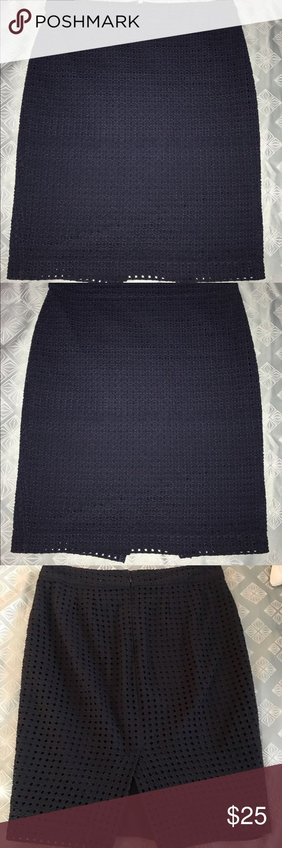 Curvy LOFT Navy Blue Eyelet Pencil Skirt 8T tall Curtly LOFT Navy Blue Eyelet Pencil Skirt 8 tall long. Great skirt to amp up your office uniform!  Navy Blue keeps it professional, while the fun eyelet style keeps it interesting. The lining can hang low depending on personal fit. Previously loved condition. LOFT Skirts Pencil