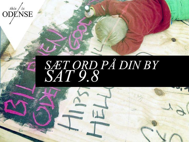 """#SætOrdPåDinBy. Vi elsker """"NY ODENSE"""" og vi skal skrive det, sige det og fylde byen med det! Kom til workshop i #StudieStuen på lørdag kl 10-16. #SpokenWordFestival #AnnetteBjergfeldt #StudenterhusOdense #FraGadetilBy #Byrumspolifylla #odense #mitodense #thisisodense Læs anbefalingen på: www.thisisodense.dk/15197/saet-ord-paa-din-by"""
