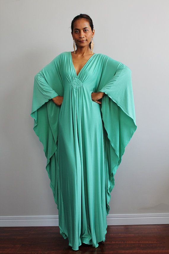 Kaftan Dress Kimono Butterfly Maxi Dress Elegant by Nuichan, $59.00...would love this in green.