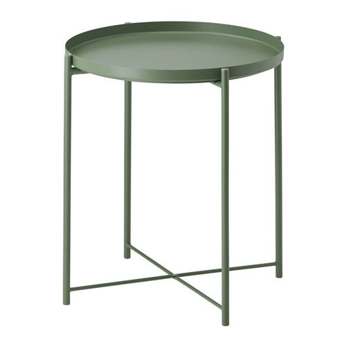 IKEA - GLADOM, Tray table, dark green, , You can use the removable tray for serving.The tray's edges make it easy to carry and reduces the risk of glasses or bowls sliding off.The surface is durable and easy to clean, since it's made from powder-coated steel.You can easily lift and move the entire table, for example from the sofa to the reading chair.