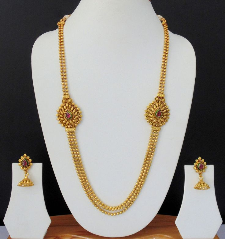 Long Necklace Indian Jewelry Ruby Ethnic Gold Plated Earrings Bollywood 22k Set #Indian