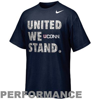 """Made of Nike's moisture-wicking Dri-FIT fabric, this super soft tee features camouflage """"United We Stand"""" lettering and a school logo printed on the front for a rousing shout out to UConn and the US Armed Forces!"""