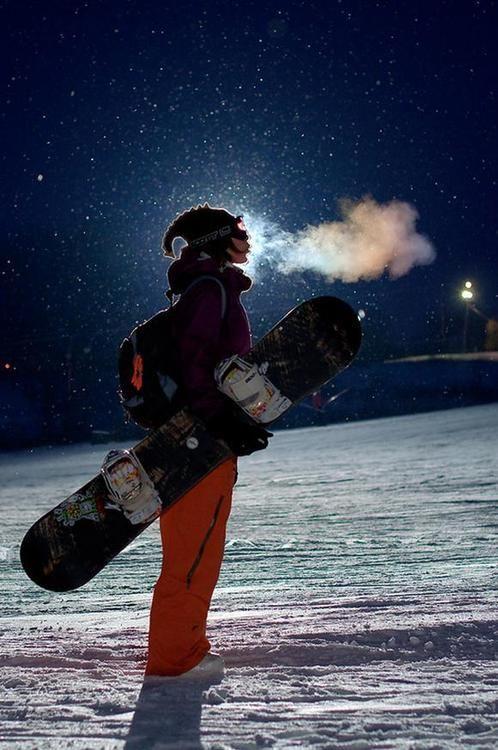 Night Snowboarding Photography