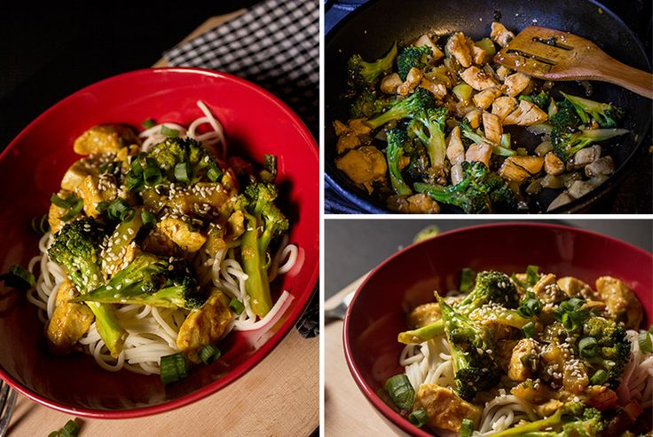 Reteta de Thai noodles cu pui, broccoli si susan.