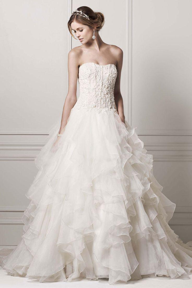 Oleg Cassini Strapless Ruffled Skirt Wedding Dress CWG568 | Corset ...