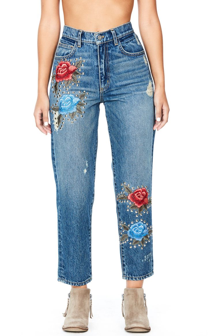 "The 2287 Amelia is a medium wash high rise boyfriend fit jean with floral patches and studding. Style #: D462287 AMELIA Fabric: 100% Cotton Measurements Rise: 11.5"" Inseam: 27"" Waist: 27.5"" Hips: 35.5"