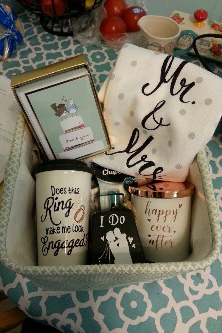 Engagement gift basket #engaged #ring #mugs #wedding #bride #giftbasket