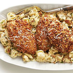Pecan-Crusted Chicken and Tortellini with Herbed Butter Sauce Recipe- Lots of 30 Minute Meal Recipes