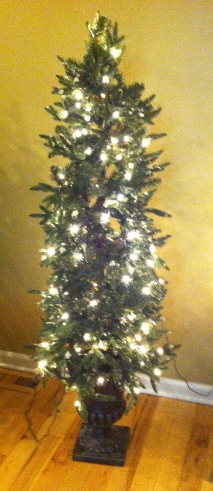 5 Ft Indoor Or Outdoor Iced Pre Lit Christmas Tree In Vase