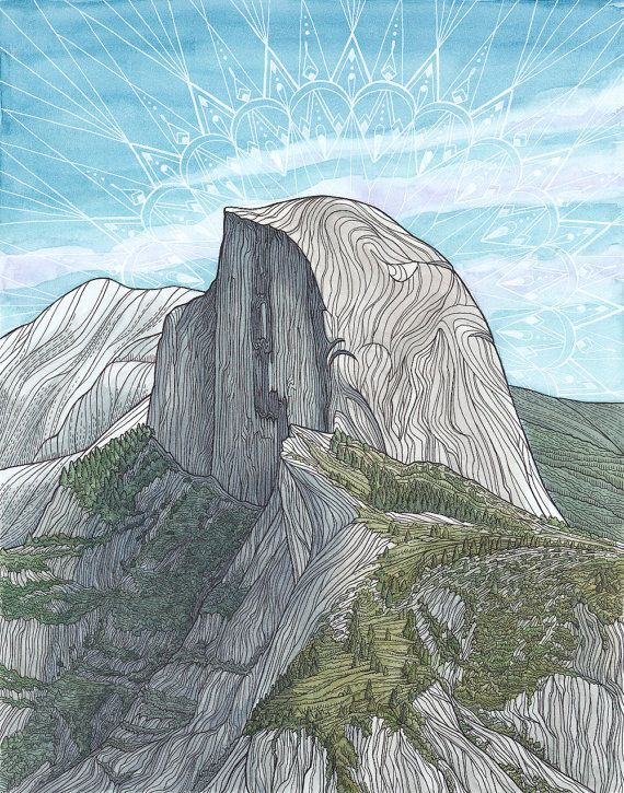 Original Rock Climbing Art Half Dome Yosemite by LizzyDaltonArt