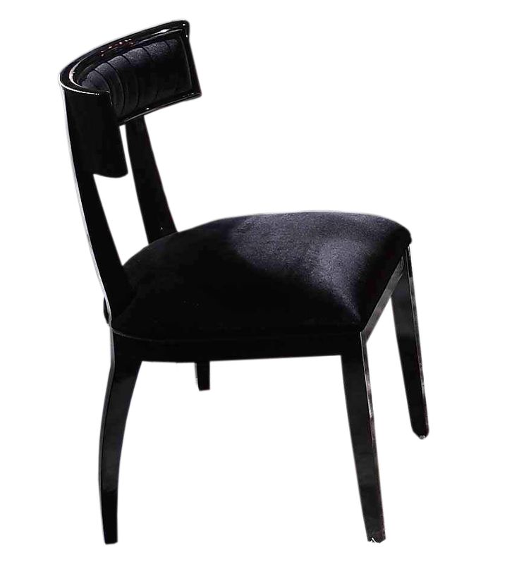 Contemporary Dining Chairs In Black Design Inspiration : Appealing Curved Armani Black Lacquer Dining Side Chair with Soft Black Seat Pad for Fetching Dining Room Decoration