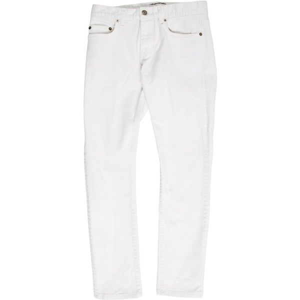 Pre-owned Saint Laurent D01 Skinny Jeans ($275) ❤ liked on Polyvore featuring men's fashion, men's clothing, men's jeans, white, mens white skinny jeans, mens jeans, mens skinny jeans, mens white jeans and mens skinny fit jeans