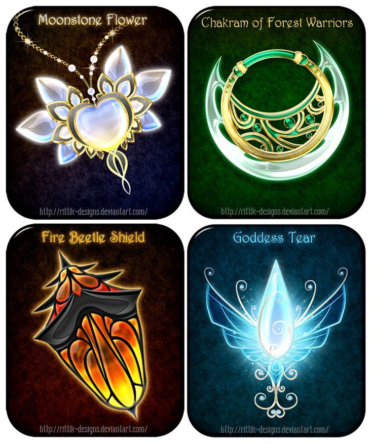 1:Flor de piedra de luna  (Mūnsutōn no hana) 2:Chakra del guerrero del bosque  (Chakura no mori no senshi) 3:Escudo escarabajo de fuego  (Bōka shīrudokabutomushi) 4:Lágrima diosa  (Namida no megami)