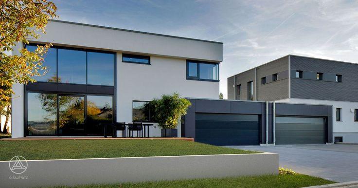 Doppelgaragen elegant und wartungsarm mit Fassadenplatten in anthrazit verkleidet – Baufritz Bauhaus Nilles