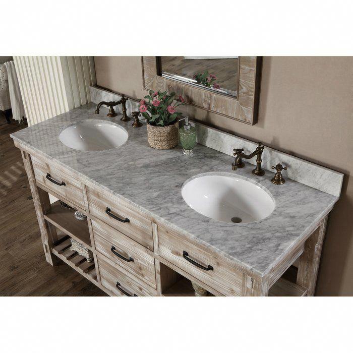 Double Vanity Bathroom, Clemmie 61 Double Bathroom Vanity Set With Linen Tower