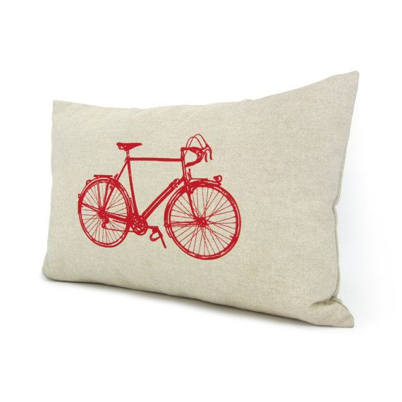 Personalized pillow case Vintage bicycle print by ClassicByNature