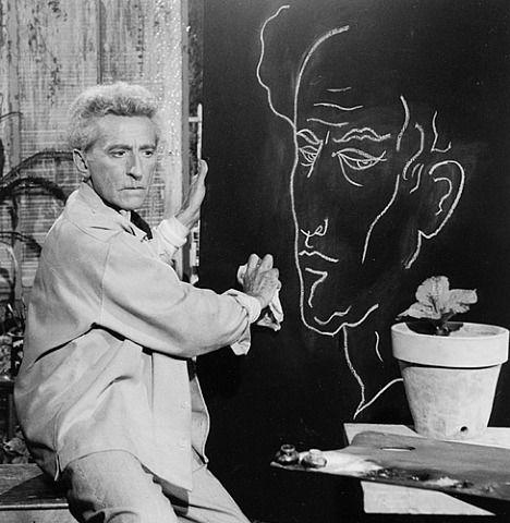Jean Cocteau + self-portrait photographed by Lucien Clergue, 1959.
