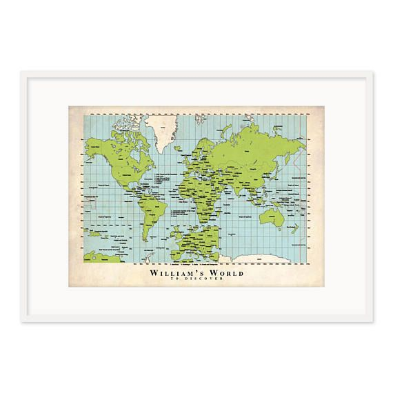 Satisfy your little budding geographer with a customized world map for their bedroom or playroom. This customized map will read (Name)s World to discover. Educational, non-gender specific and fun for all ages this A3 sized poster will delight for years! Your World Map is printed with an aged paper background to give your child the feeling of being an old-world discoverer! A white background is also available. Please let me know if you would like the aged paper background or white background…