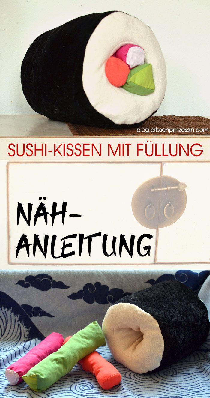 Nähidee für Sushi-Fans: Dicke Maki-Rolle als Kissen selbernähen  #nähen #nähanleitung #kissen #sushi #sushikissen #sewing