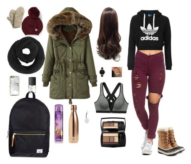 """""""winter outside"""" by bronwynselbyl ❤ liked on Polyvore featuring Topshop, Canada Goose, Muk Luks, Zero Gravity, NARS Cosmetics, Herschel Supply Co., SOREL, Olivia Burton, Victoria's Secret and S'well"""