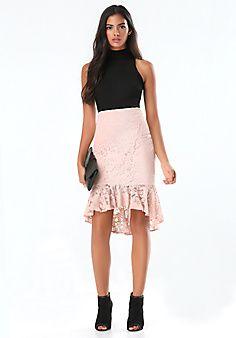 Lace Flounce Midi Skirt
