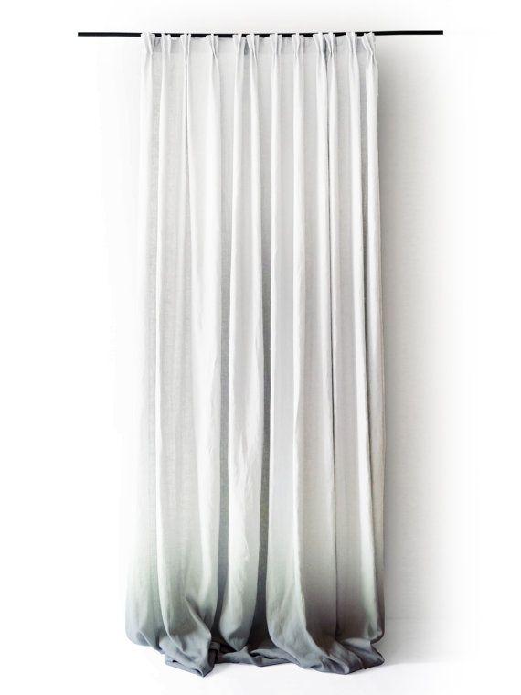 Ombre White Linen Curtain Panels. Pinch Pleat By LovelyHomeIdea,