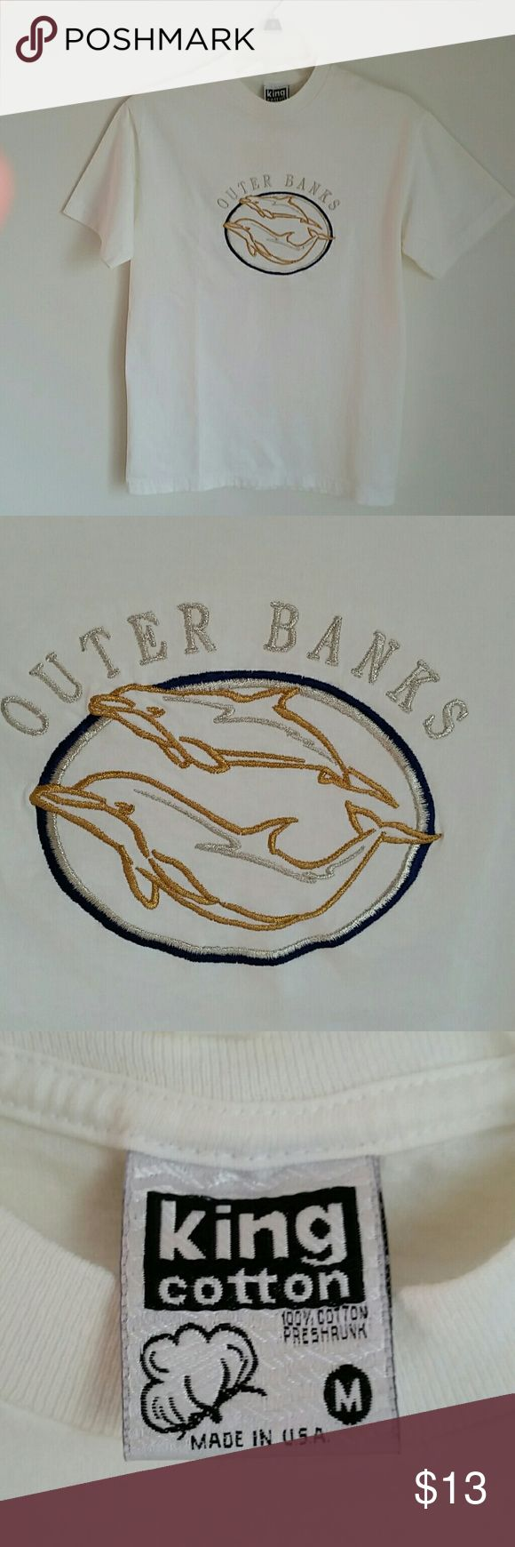 T-shirt - Outer Banks, NC Embroidered Dolphins - Gold/Silver/Navy Metallic    Thread - Pre-shrunk Cotton - Worn One Time King Cotton Tops Tees - Short Sleeve