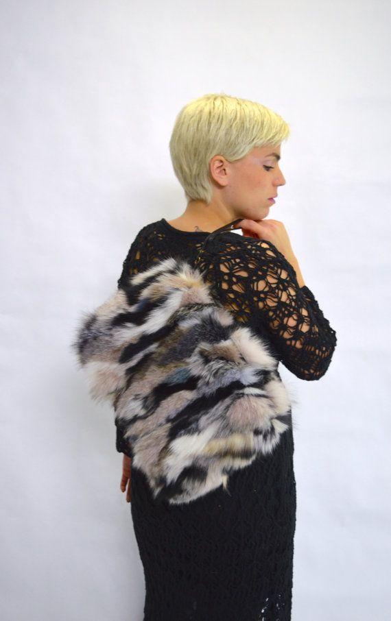 Real fox fur bag real fur clutch bag colourful real fur by BeFur