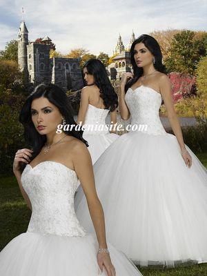 Ball Gown Sweetheart Tulle Satin Floor-length Lace Wedding Dresses - Gardeniasite