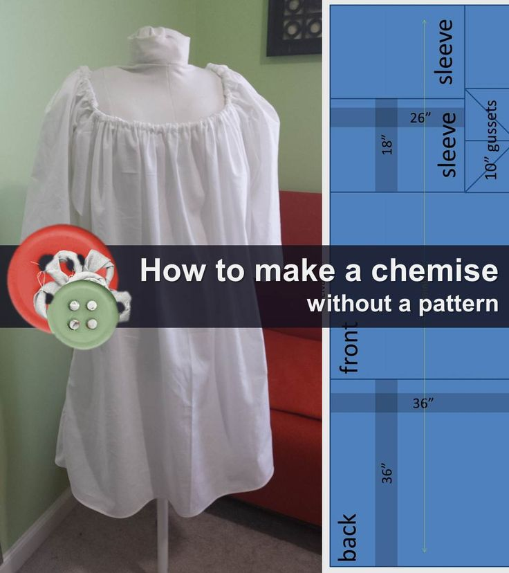 "Easy instructions for a simple chemise made of only three yards of 36"" wide cotton muslin fabric."