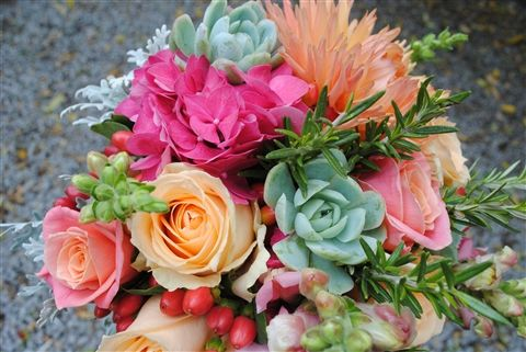 Bright colours against the soft pastel succulents... gorgeous!