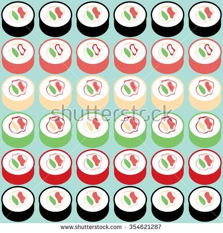 Japanese sushi rolls vector pattern - stock vector