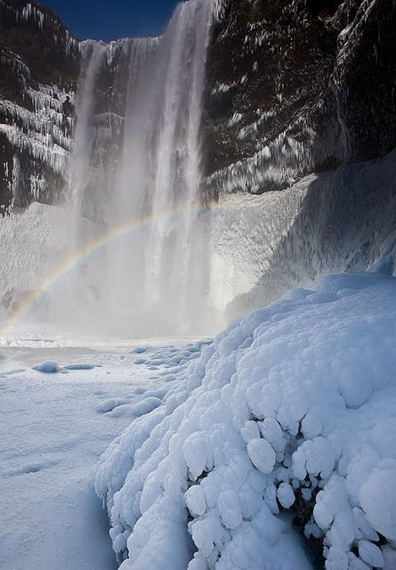 ✯ Skógafoss waterfall in snow, Iceland