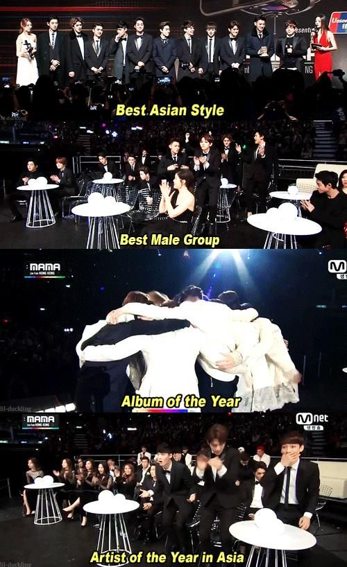 Congratulations Exo. With you forever. Shout out to Luhan and Kris too. ❤ #MAMA2014