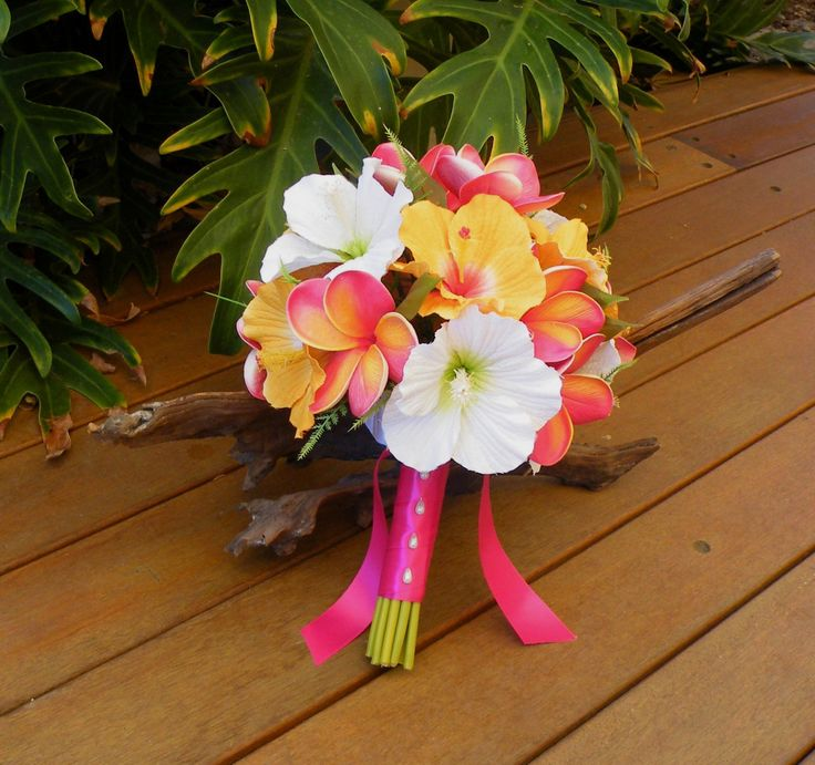 Frangipani Plumeria Hibiscus Bouquet Destination Beach Wedding by Abloomortwo on Etsy