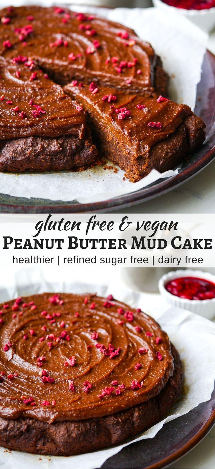 Healthy Peanut Butter Mud Cake (vegan, gluten free, grain free, dairy free, egg free) - recipe via Nourish Everyday