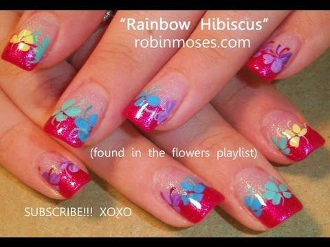 The Best Rainbow Hibiscus ever! Pink Tip Nails!