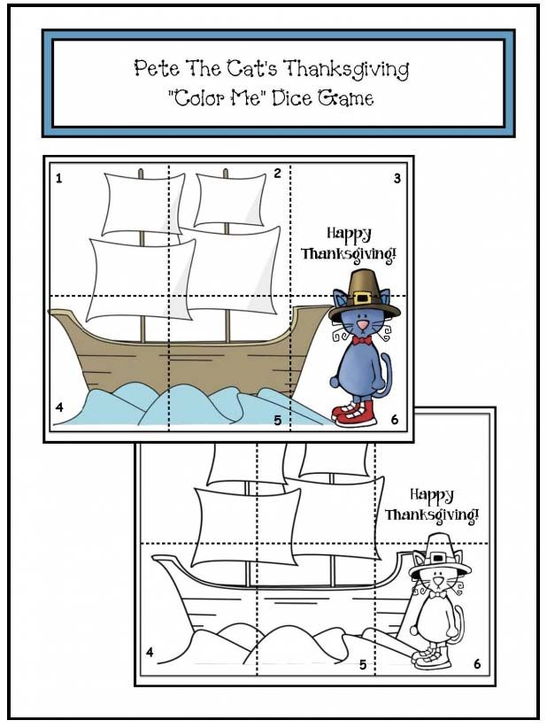 """Pete the Cat Activities: FREE """"Color Me"""" Pete the Cat Thanksgiving-themed dice game that's a puzzle. Fun!"""