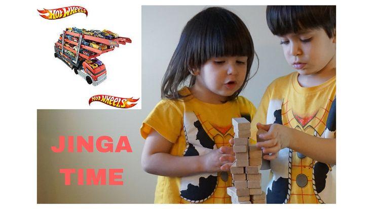 ألعاب أطفال تحدي مكعبات الخشب جينكا لعب سيارات و شاحنة هوت ويلز